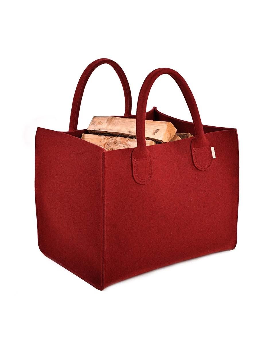 Kaminholztasche Wood Tasche aus Filz-rot