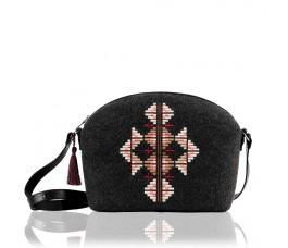 Farbotka Filzhandtasche Ornament gemustert schwarz